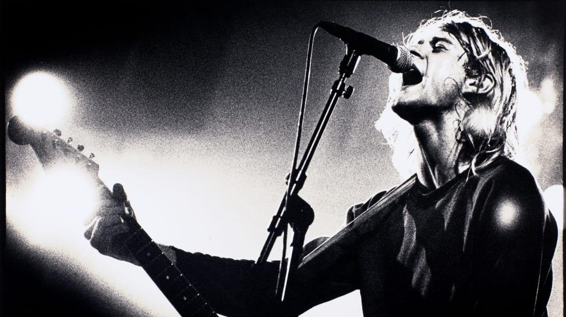 Kurt Cobain performing with Nirvana in Amsterdam in 1991.
