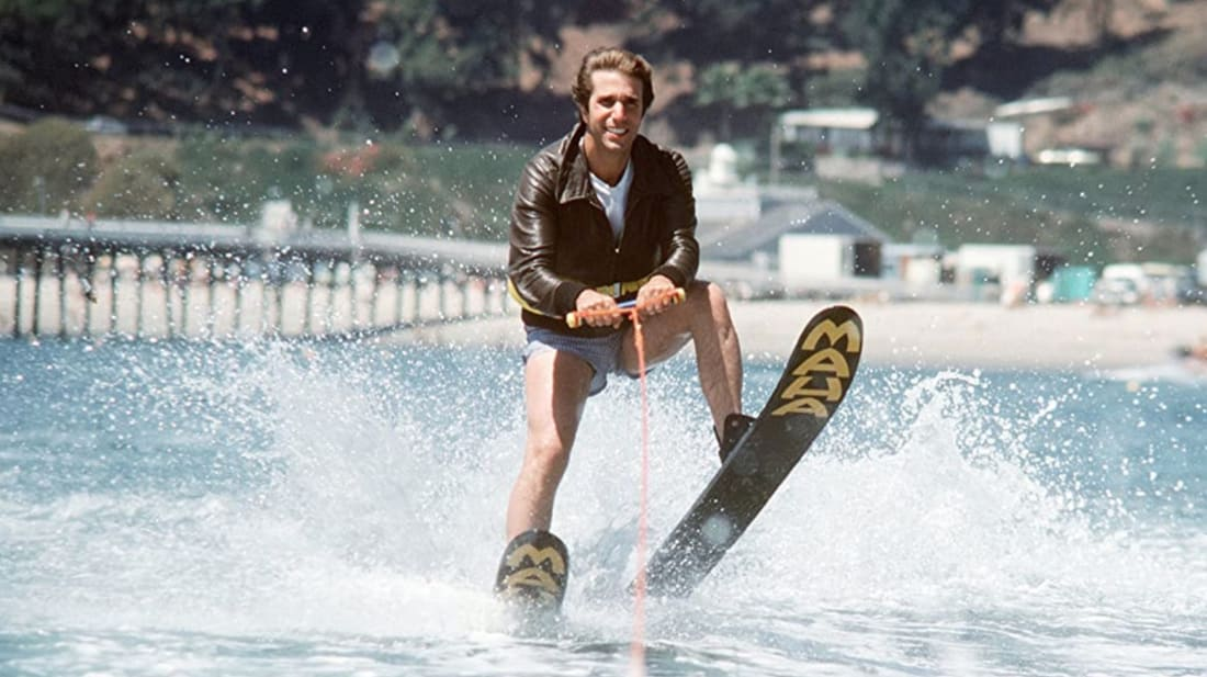 Henry Winkler—and a shark (not pictured)—prepares to make pop culture history on Happy Days.