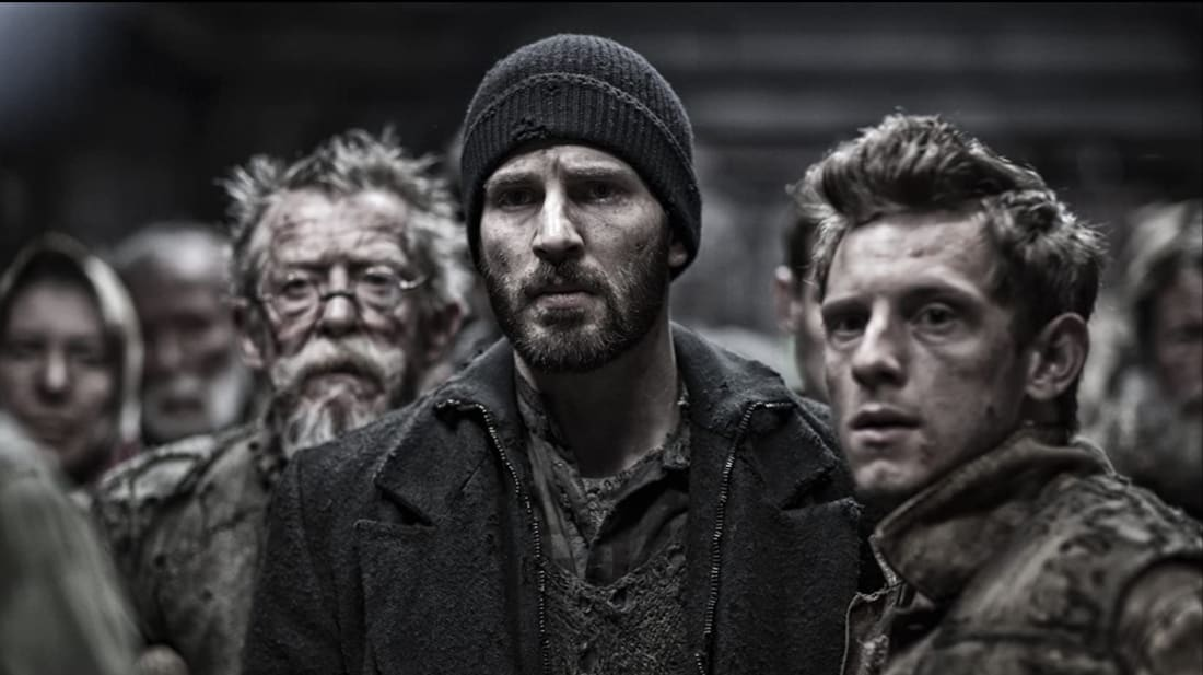 John Hurt, Jamie Bell, and Chris Evans in Bong Joon-ho's Snowpiercer (2013).