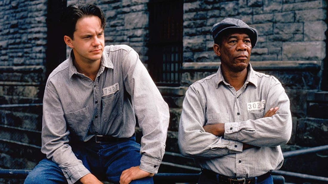Morgan Freeman and Tim Robbins in The Shawshank Redemption (1994).