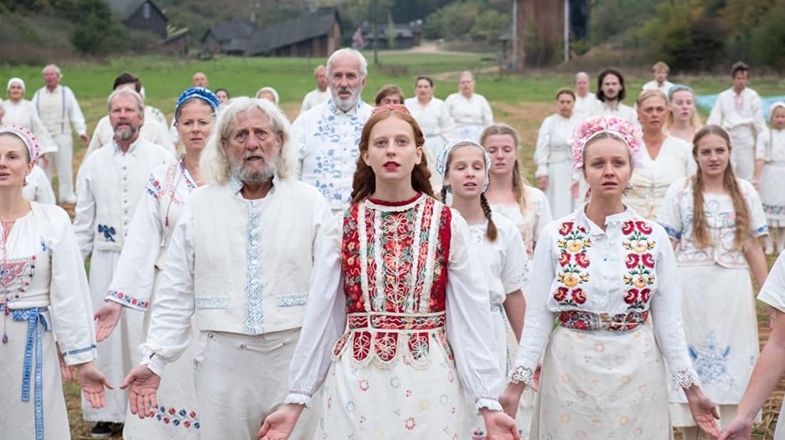 Mats Blomgren, Lars Väringer, Anna Åström, and Isabelle Grill in Midsommar (2019).