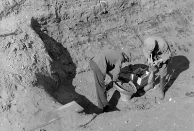 Workers sift for treasure at Sutton Hoo in 1939.