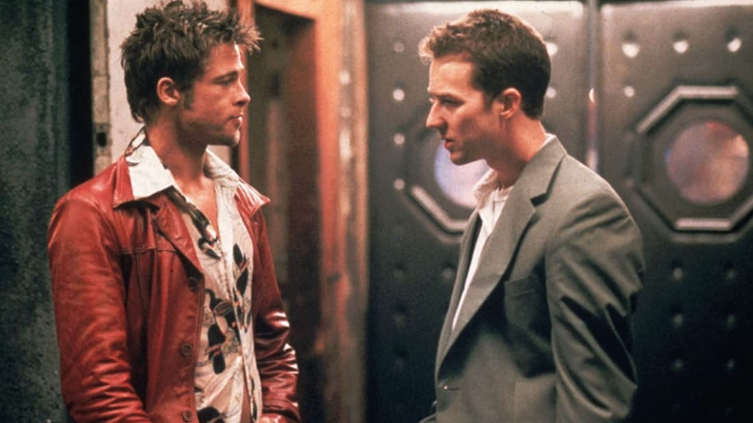 Brad Pitt and Edward Norton in Fight Club (1999).