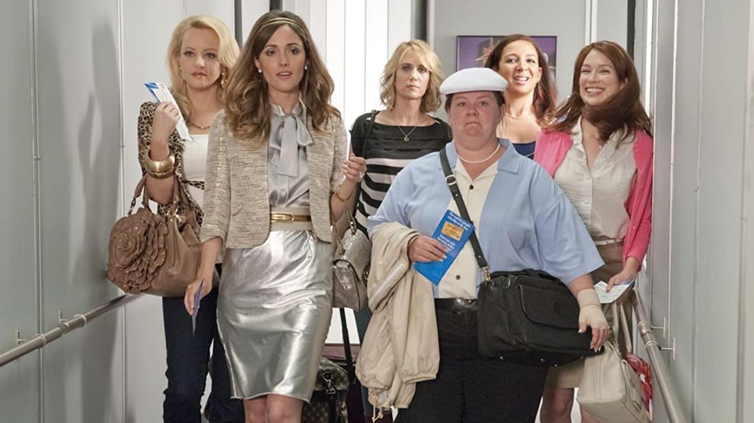 L to R: Wendi McLendon-Covey, Rose Byrne, Kristen Wiig, Melissa McCarthy, Maya Rudolph, and Ellie Kemper star in Bridesmaids (2011).