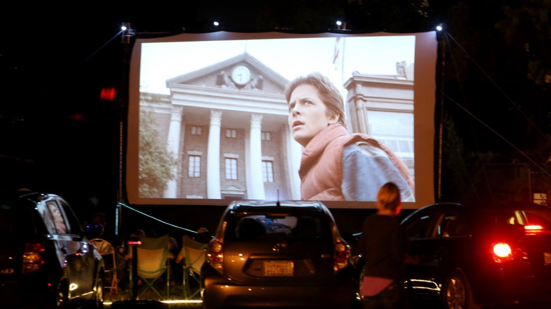 Moviegoers watch Back to the Future at The Blue Starlite Mini Urban Drive-In in Miami, Florida.