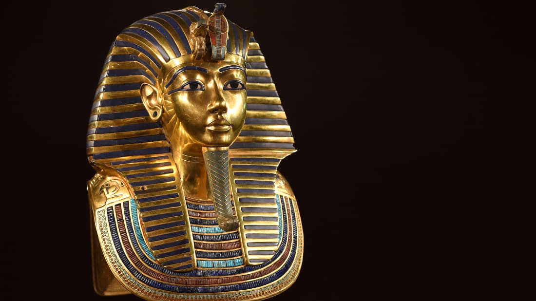 The burial mask of Egyptian King Tutankhamun.