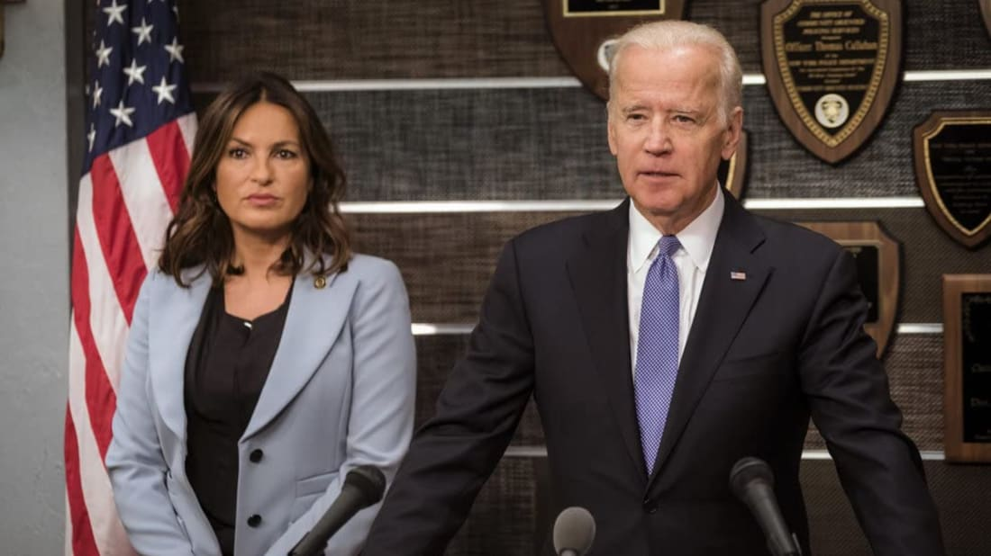 Mariska Hargitay and Joe Biden in a 2016 episode of Law & Order: Special Victims Unit.