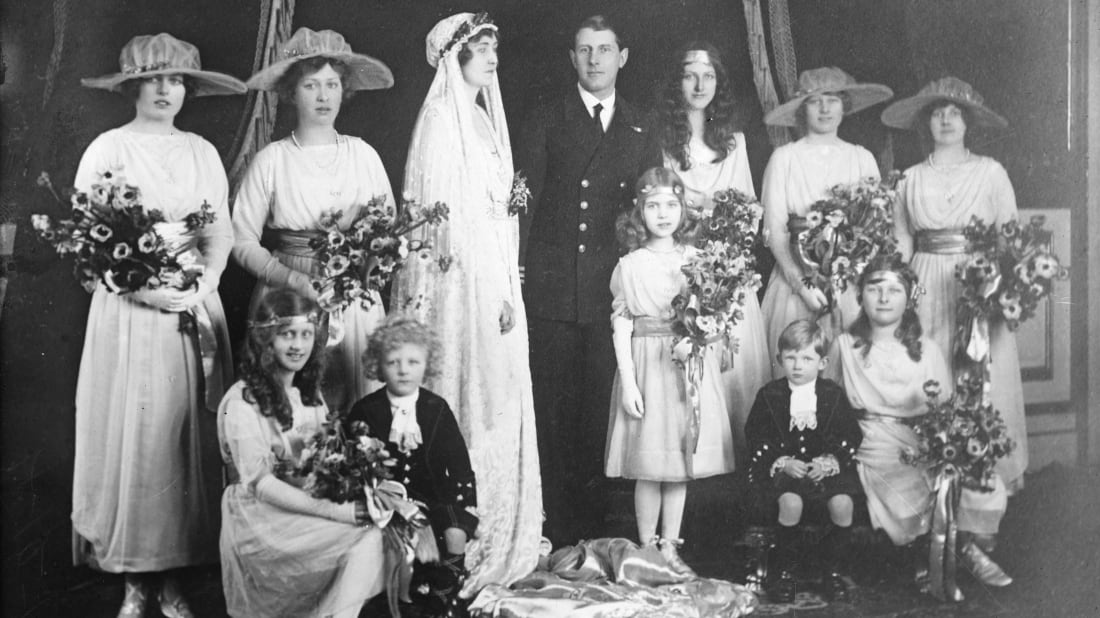 A photo from the 1919 wedding of Princess Patricia of Connaught to the Hon. Alexander Ramsay.