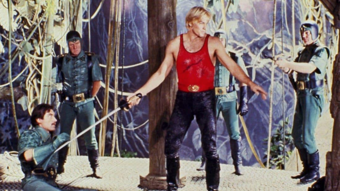 Timothy Dalton and Sam J. Jones in Flash Gordon (1980).