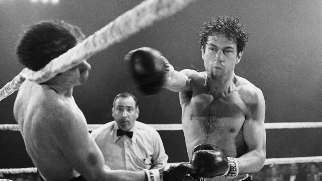 Robert De Niro stars in Raging Bull (1980).