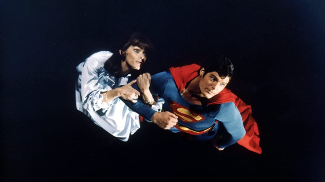 Christopher Reeve and Margot Kidder in Superman II (1980).