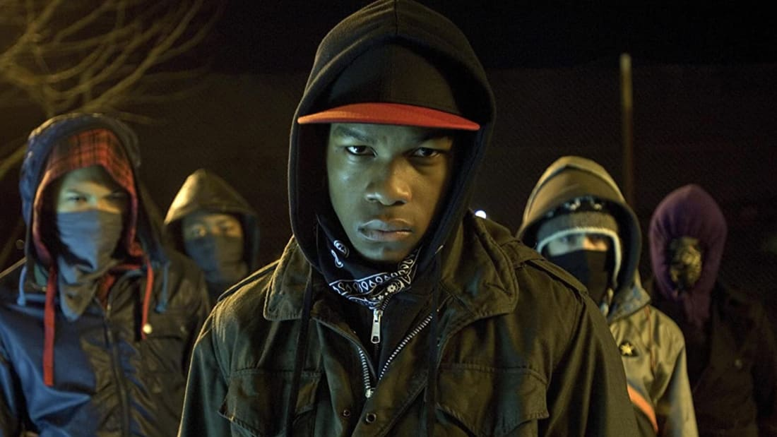 Franz Drameh, Alex Esmail, Leeon Jones, and John Boyega in Joe Cornish's Attack the Block (2011).