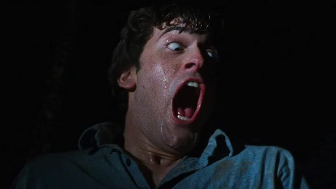 Bruce Campbell in The Evil Dead (1981).