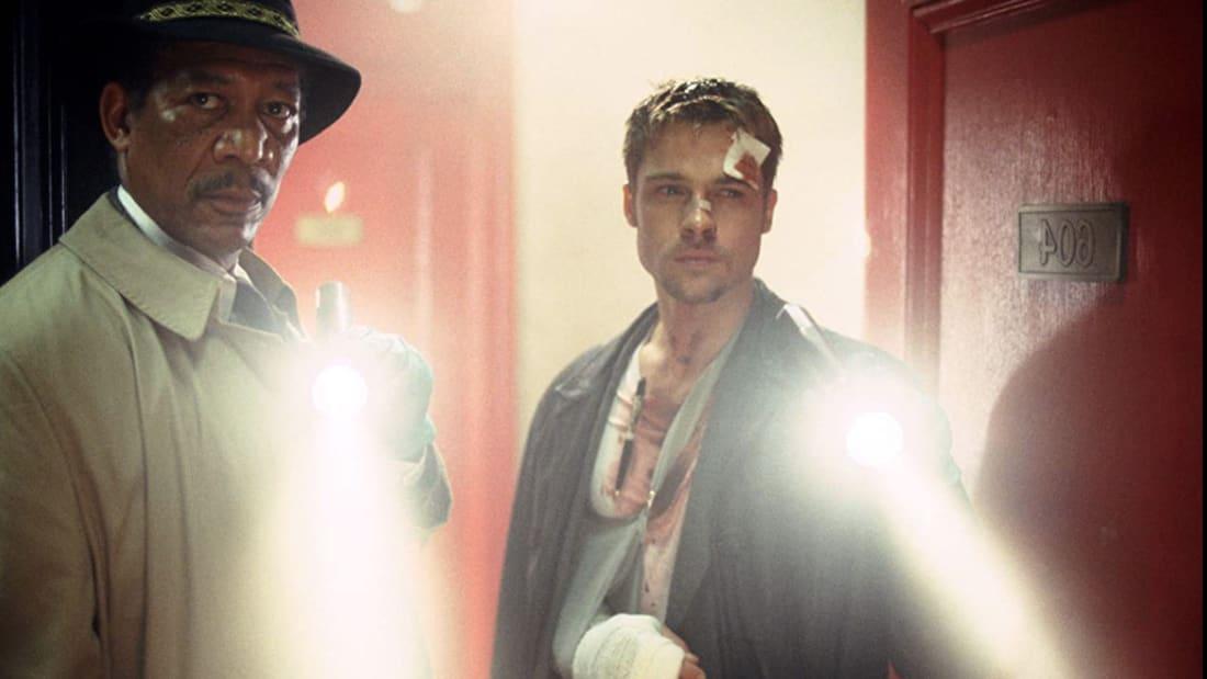 Morgan Freeman and Brad Pitt in Se7en (1995).