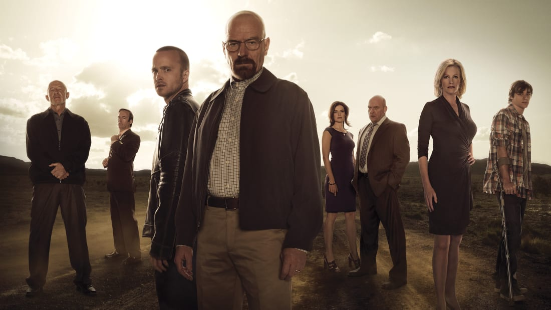 The cast of Breaking Bad gathers for a photo shoot.