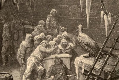 "The albatross visits the Mariner and his crew in Samuel Taylor Coleridge's ""The Rime of the Ancient Mariner,"" as illustrated in 1876 by Gustave Doré."