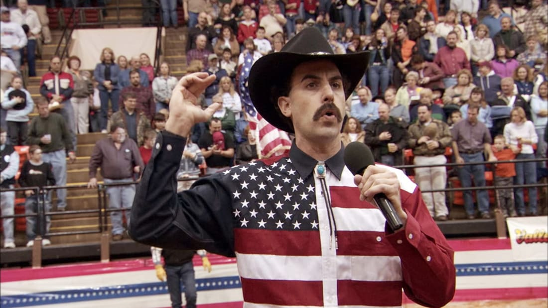 Sacha Baron Cohen in Borat: Cultural Learnings of America for Make Benefit Glorious Nation of Kazakhstan (2006).