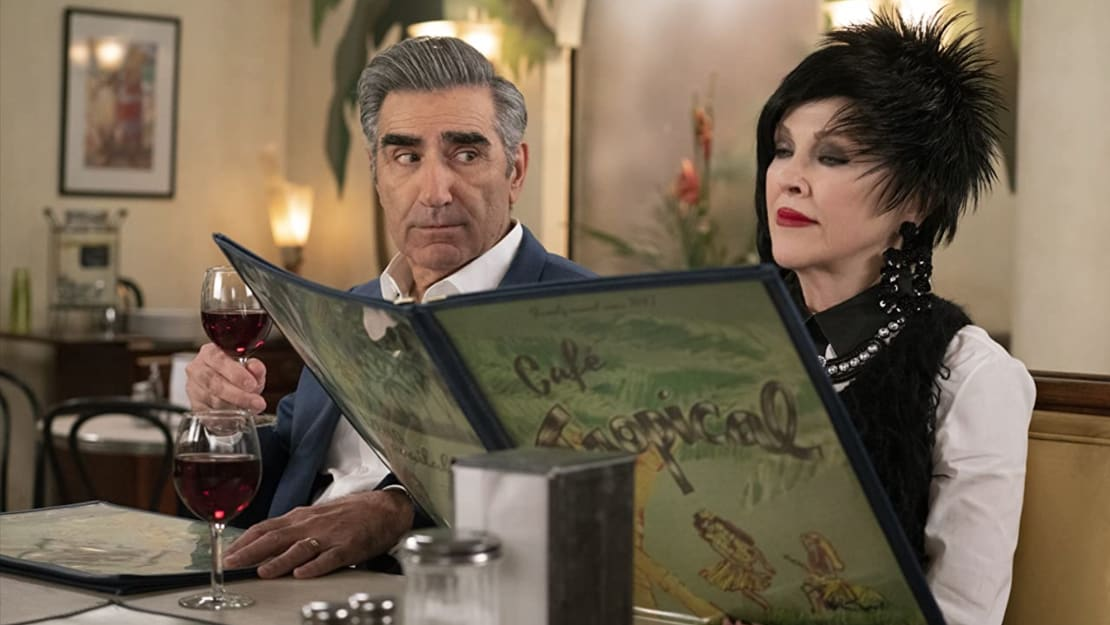 Eugene Levy and Catherine O'Hara in a scene from Schitt's Creek.