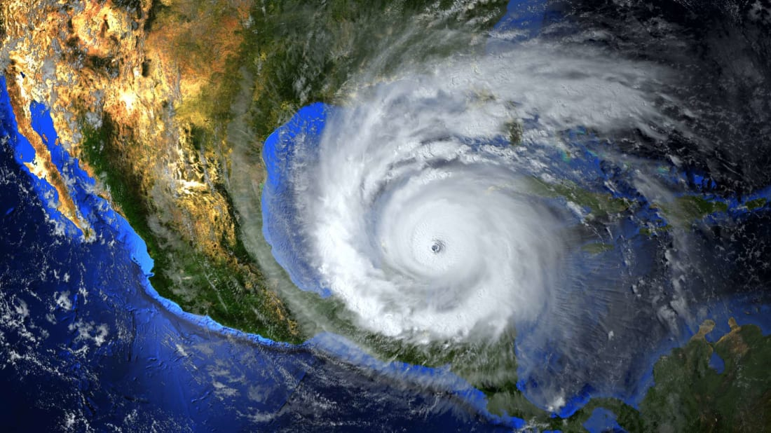 A hurricane as seen from a satellite.