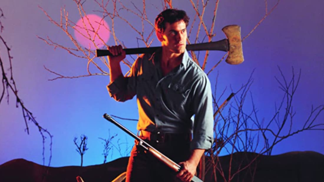 Bruce Campbell stars as Ash in The Evil Dead (1981).