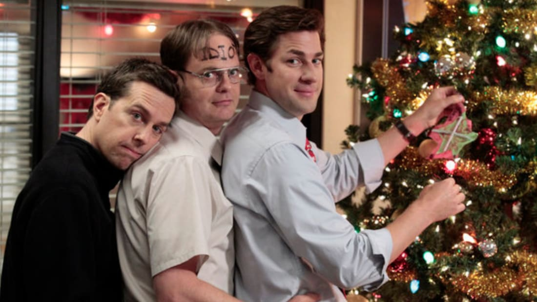 Ed Helms, Rainn Wilson, and John Krasinski in The Office.