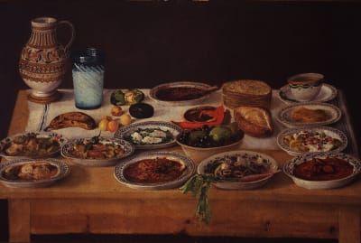 Painting of a Puebla Kitchen, by an anonymous artist.
