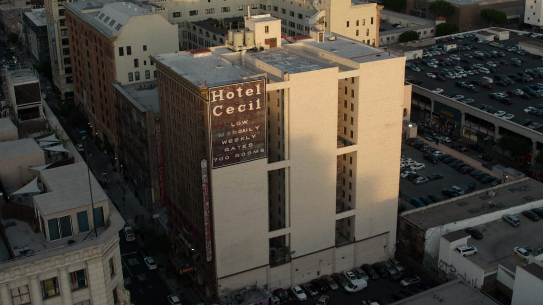 The exterior of Los Angeles's Cecil Hotel, as seen in Crime Scene: The Vanishing at the Cecil Hotel (2021).