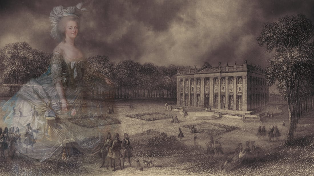 Photo illustration by Mental Floss. Marie Antoinette: Ian Dagnall and Petit Trianon: Heritage Image Partnership Lt, Alamy. Clouds: iStock