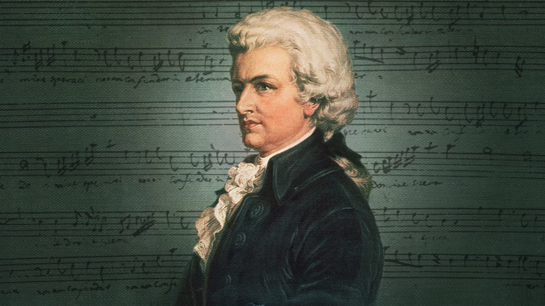 Illustration by Mental Floss. Mozart, music: Hulton Archive/Getty Images. Background: iStock.