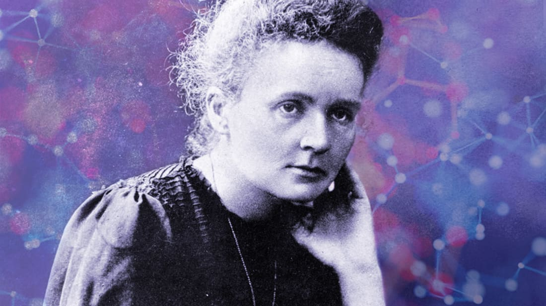 Photo Illustration by Mental Floss. Curie: Hulton Archive, Getty Images. Background: iStock