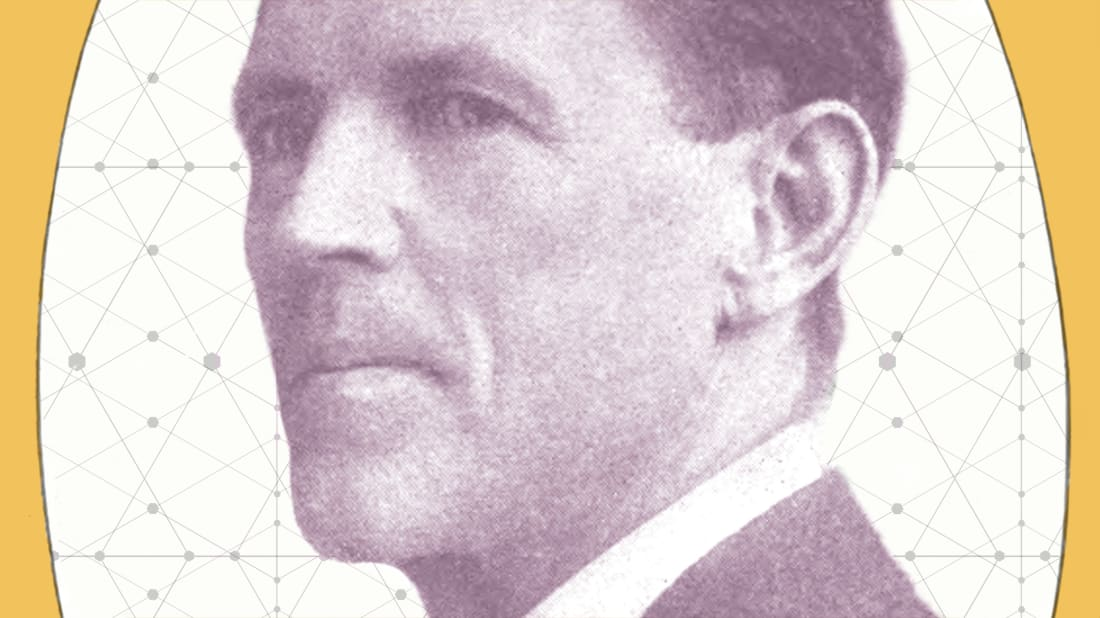 Photo illustration, Mental Floss. Portrait of Bates: Strengthening the Eyes, Wikimedia Commons // Public Domain