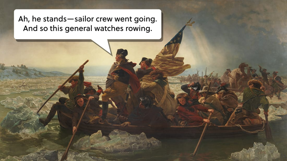 Washington Crossing the Delaware, Emanuel Gottlieb Leutze // Public Domain / Photo illustration by Lucy Quintanilla