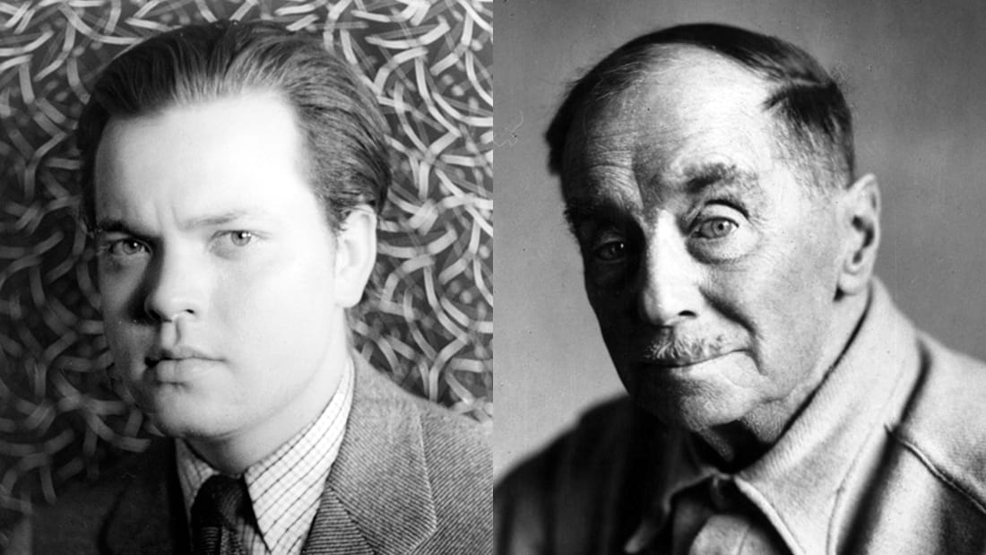 Portraits of Orson Welles and H.G. Wells.