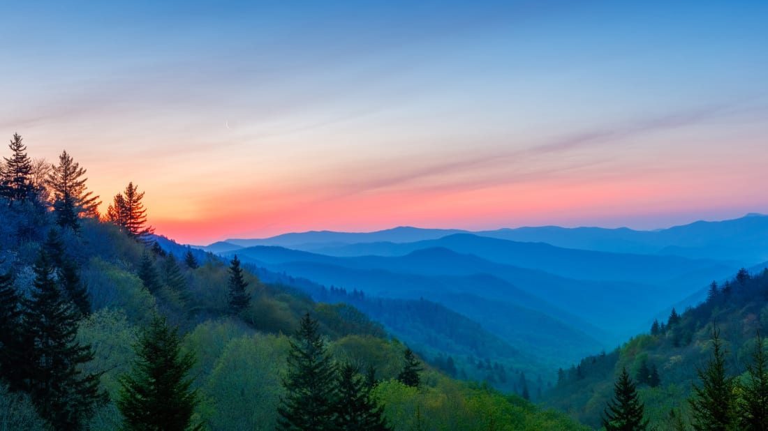Sunrise at Great Smoky Mountains National Park.