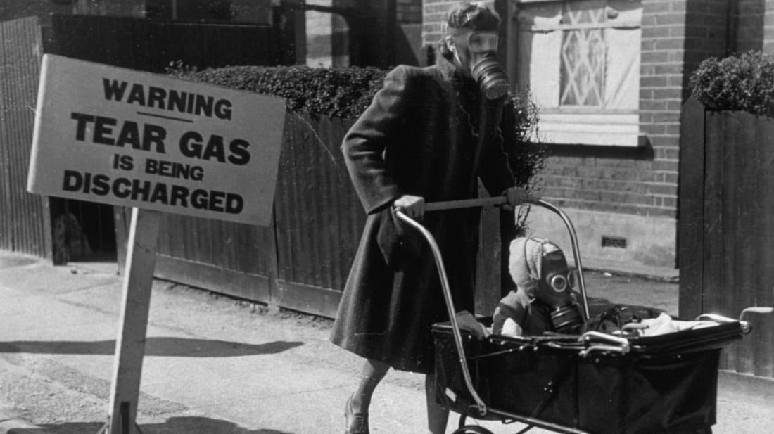 Londoners undergo a gas exercise for civilians, using tear gas, in 1941.
