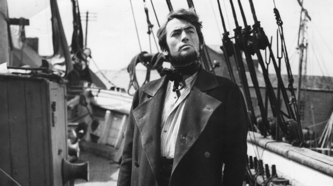 Gregory Peck as Captain Ahab during the shooting of the 1956 film Moby Dick
