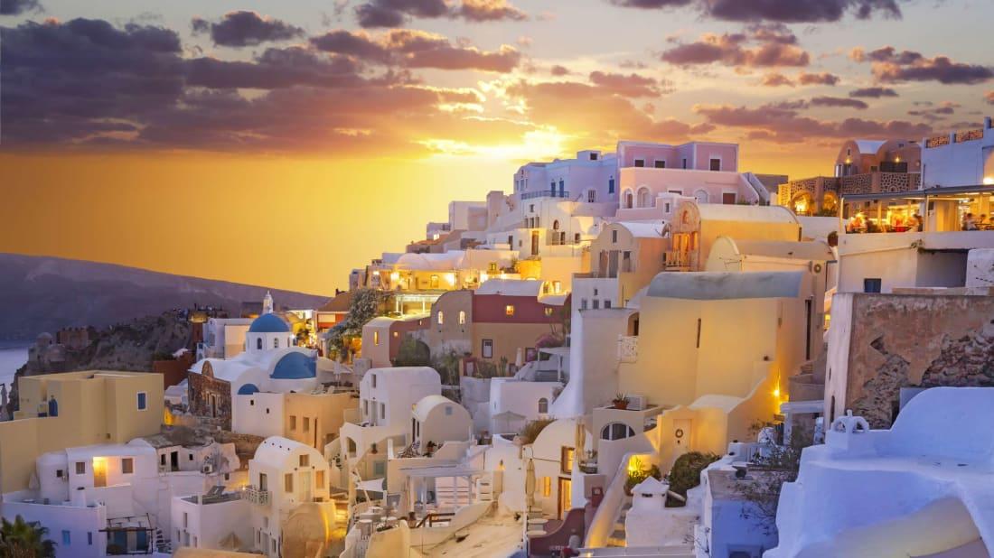 Santorini, Greece, tops the list of the world's best sunset-viewing destinations.