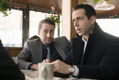 Kieran Culkin and Jeremy Strong in HBO's Succession.