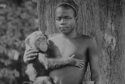 1906 photograph of Ota Benga, described as being taken at Bronx Zoo.