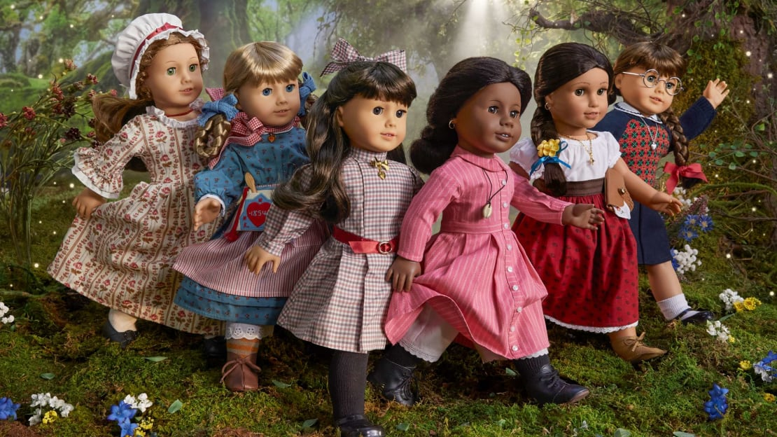 (From left to right) Felicity, Kirsten, Samantha, Addy, Josefina, and Molly.