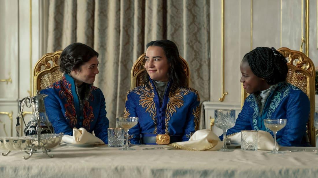 (L to R) Jasmine Blackborow, Jessie Mei Li, and Gabrielle Brooks star in Netflix's Shadow And Bone.