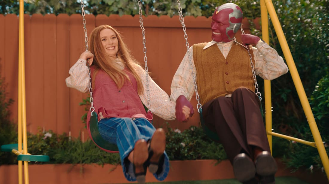 Elizabeth Olsen and Paul Bettany star in WandaVision on Disney+.