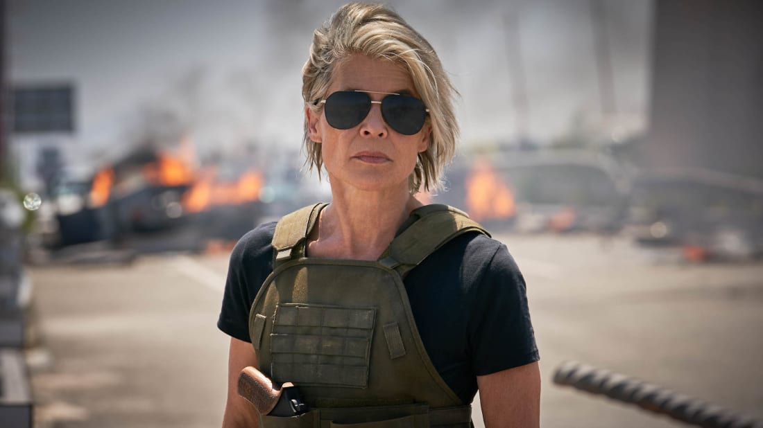 Linda Hamilton reprises her role as Sarah Connor in Terminator: Dark Fate (2019).
