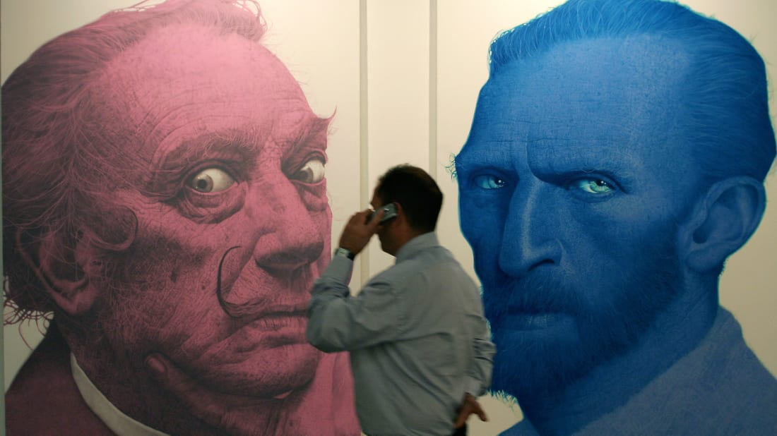 A mural of Salvador Dali and Vincent Van Gogh at the International Fair of Contemporary Art in Madrid in 2006