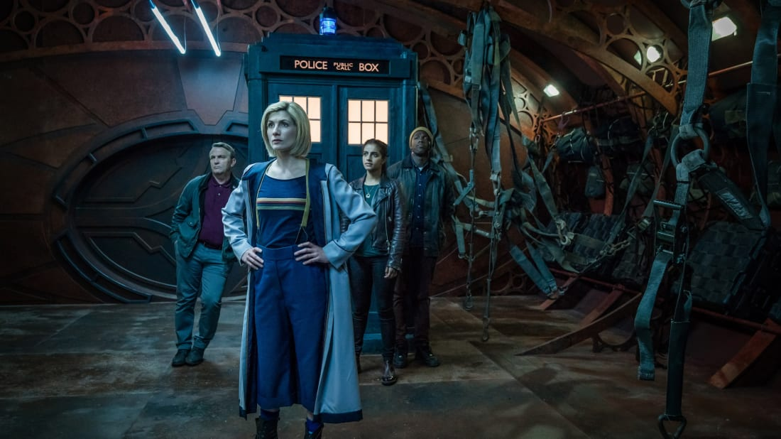 Bradley Wash, Jodie Whittaker, Mandip Gill, and Tosin Cole star in Doctor Who.