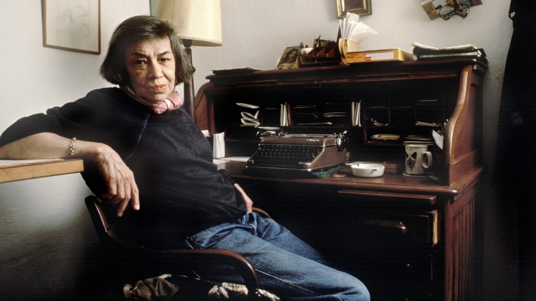 Patricia Highsmith poses at home in Locarno, Switzerland in 1987.