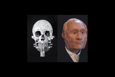 John Gregory's actual skull alongside a 3D rendering of his head.
