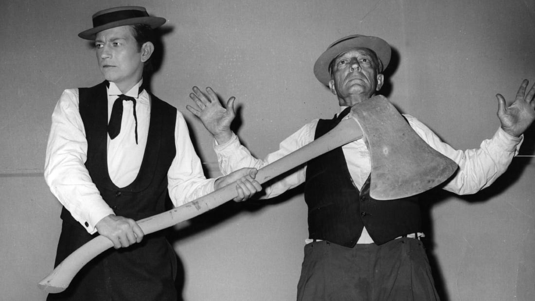 Buster Keaton seen with Donald O'Connor on the set of a film in 1957