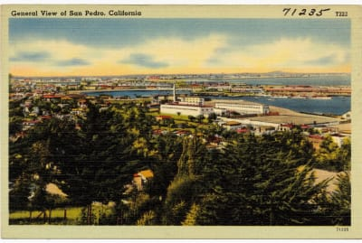 A vintage postcard of San Pedro, California.