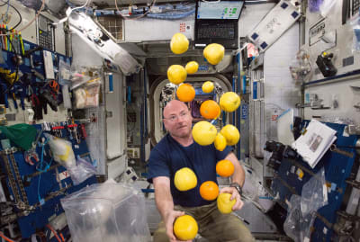 Astronaut Scott Kelly gets a delivery of fresh fruit while on board the International Space Station in 2015.
